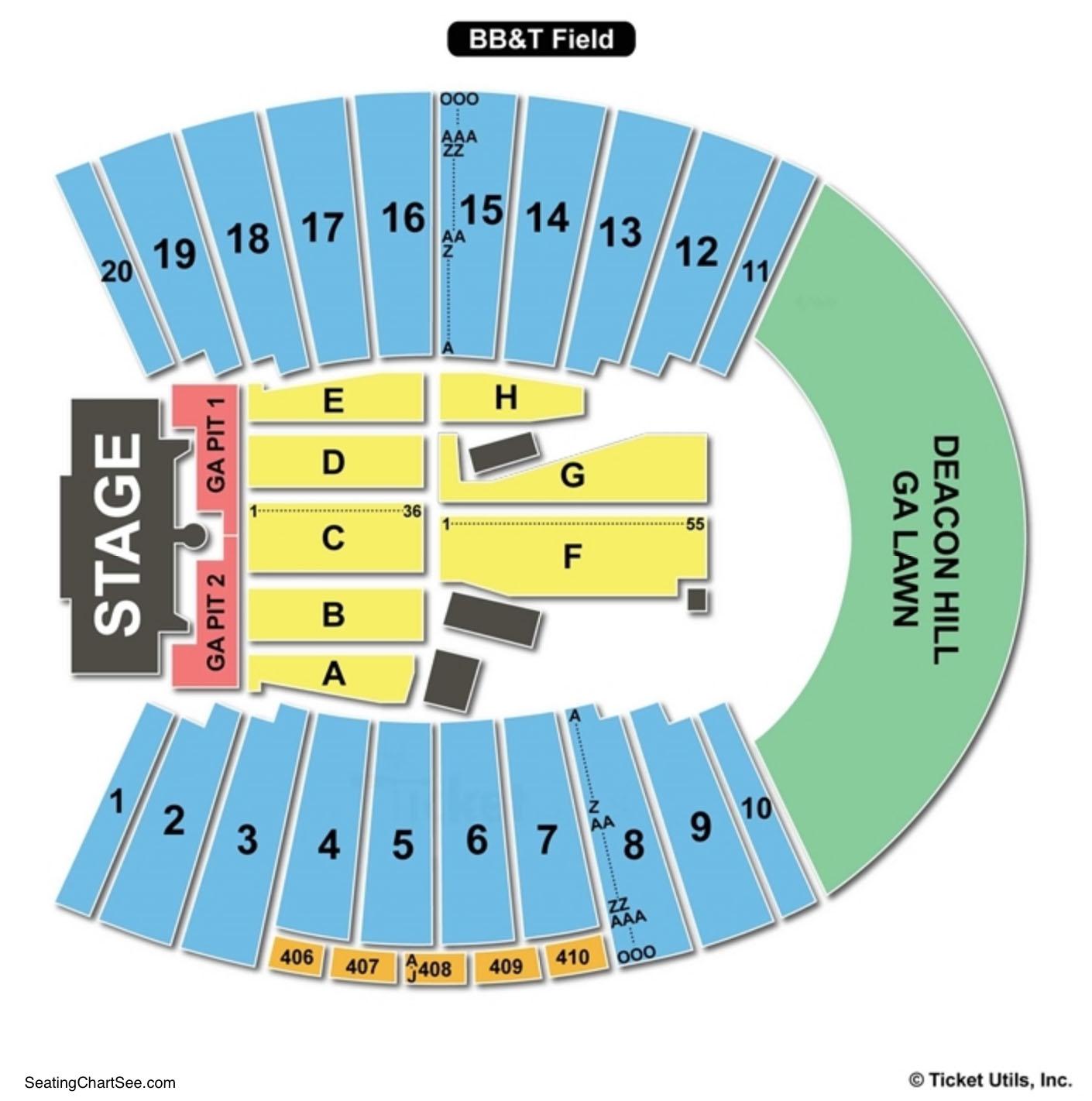 BB&T Field Concert Seating Chart (Winston-Salem)