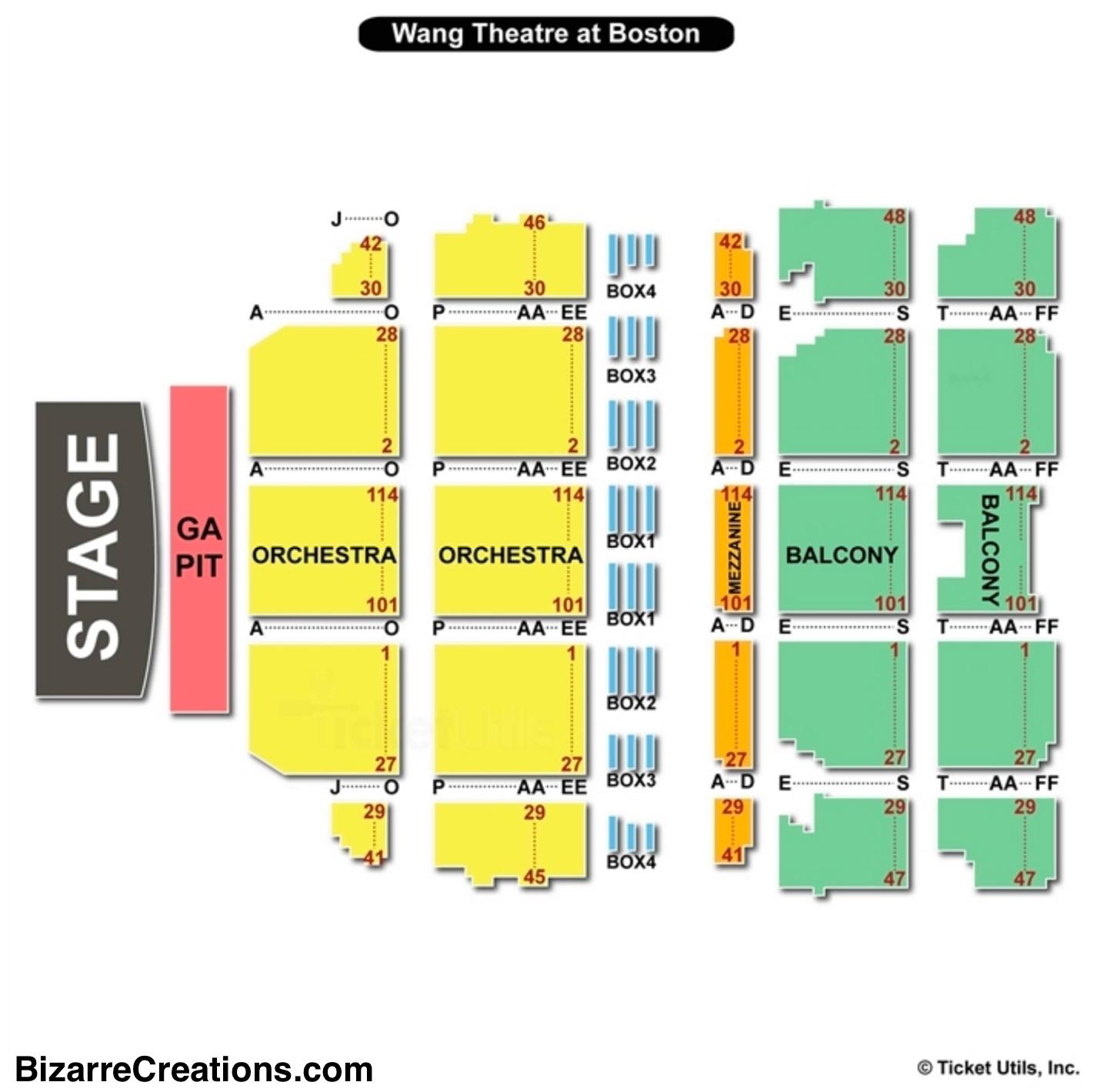 Boch Center Wang Theatre Seating Chart Boston
