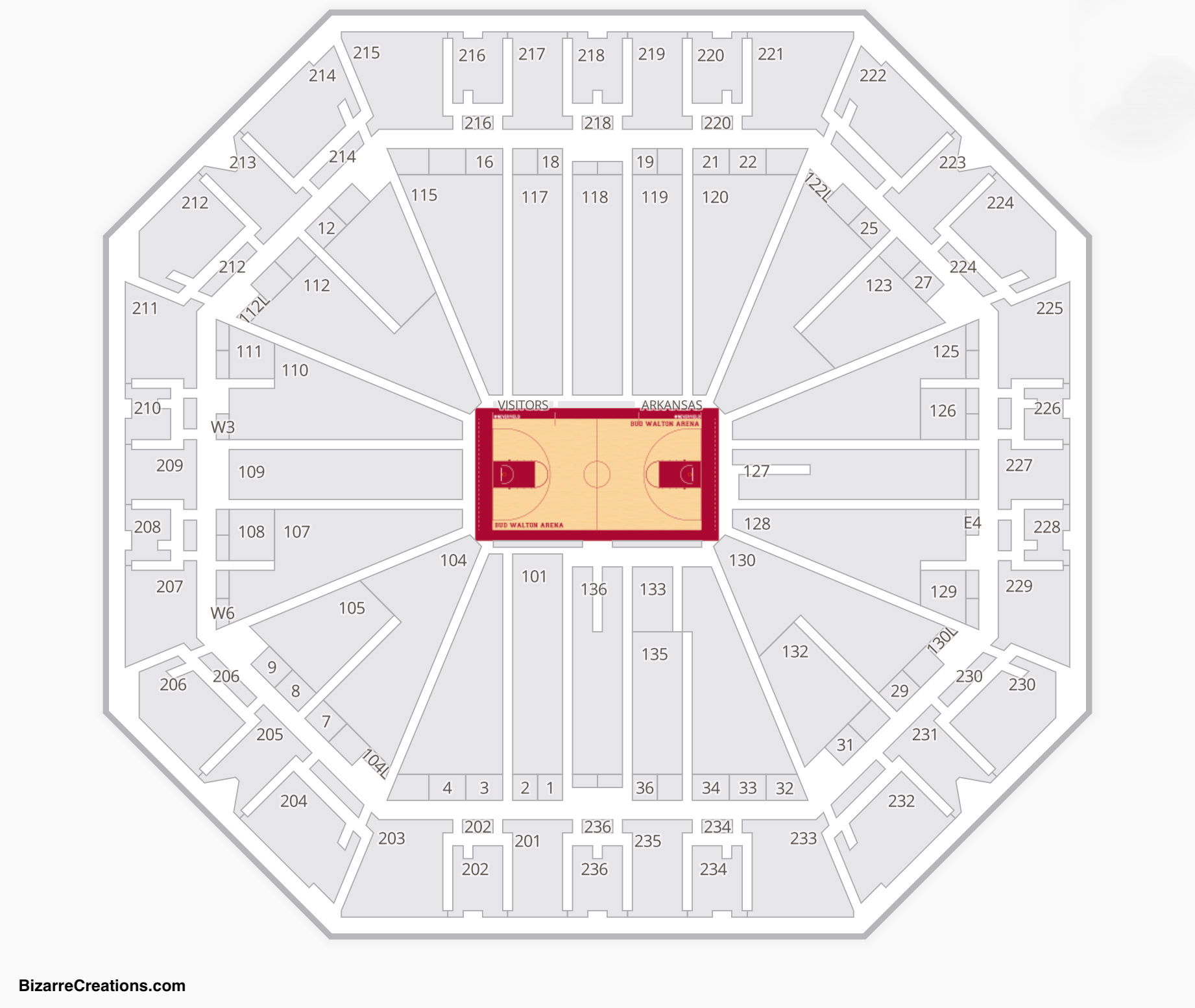 Bud Walton Arena Seating Chart NCAA Football