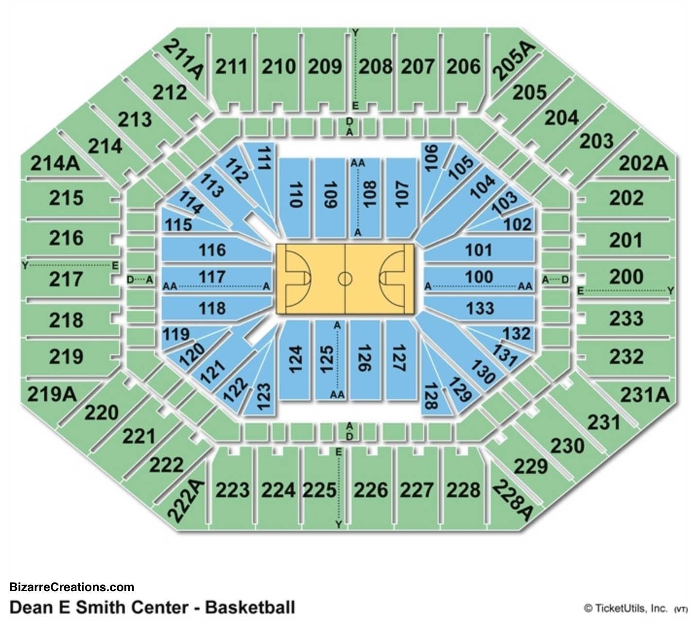 Dean E. Smith Center Seating Chart Basketball