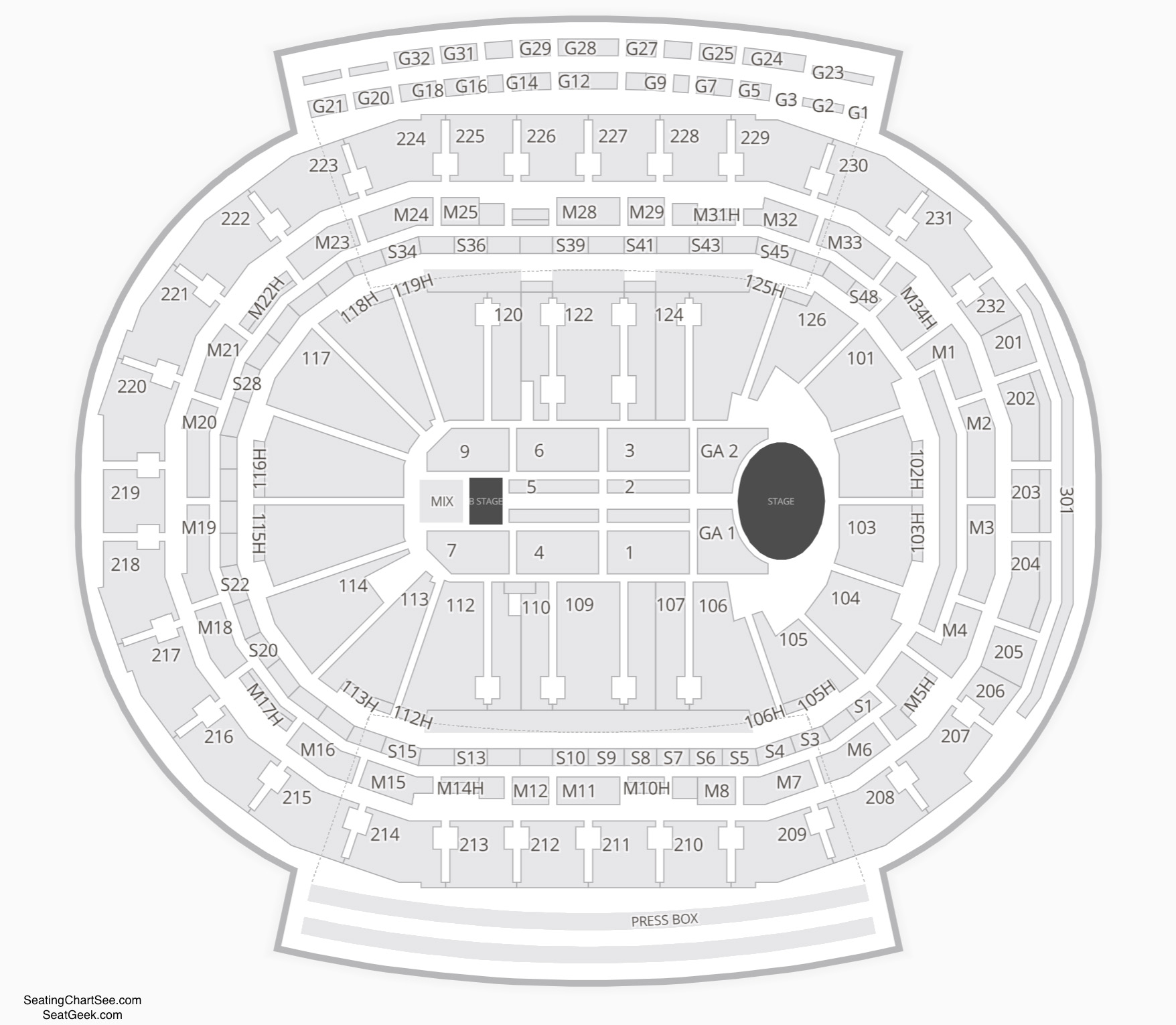 Little Caesars Arena Concert Seating Chart