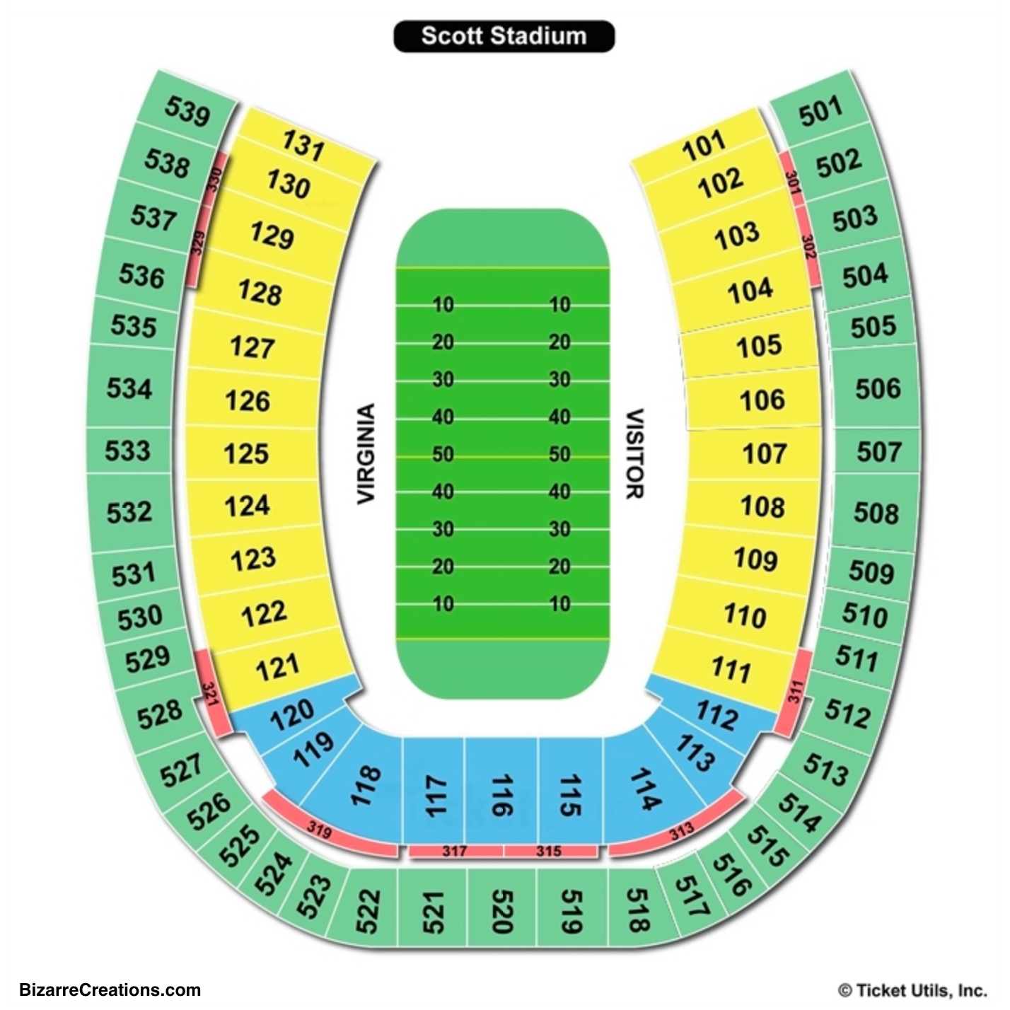 Scott Stadium Seating Chart Football
