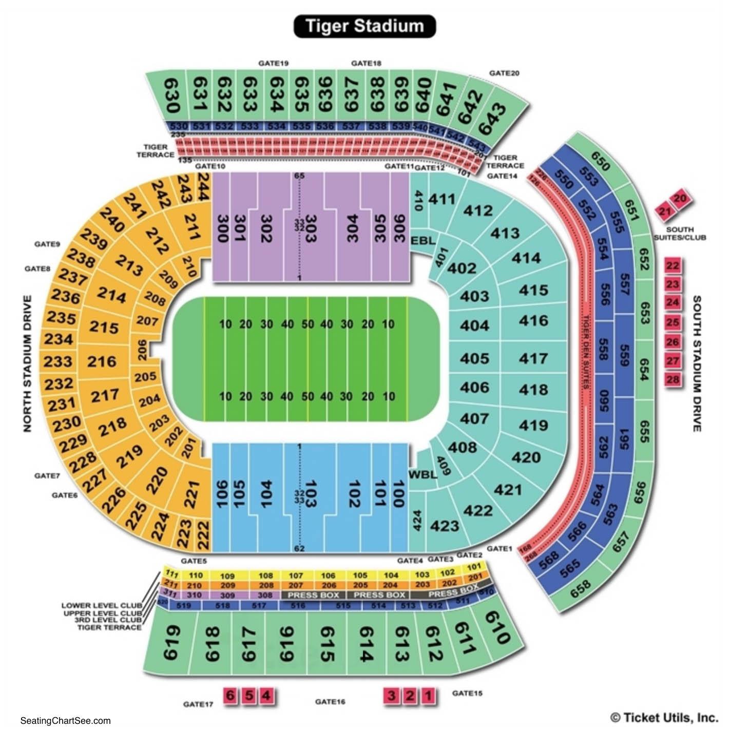 Tiger Stadium Baton Rouge Seating Chart Football