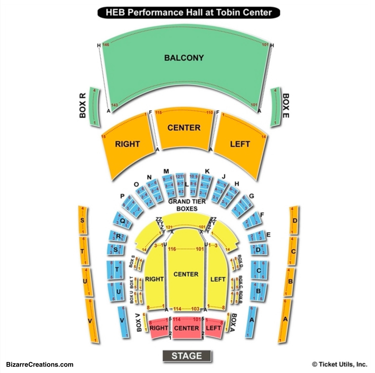 Tobin Center for the Performing Arts Seating Chart