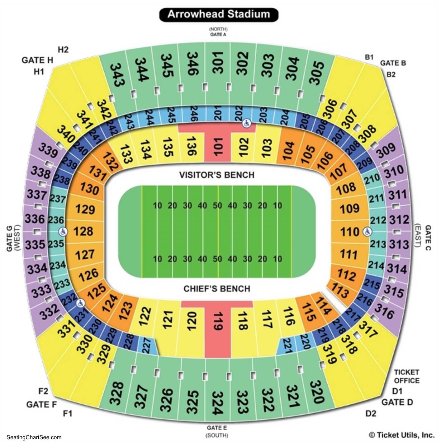 Arrowhead Stadium Football Seating Chart