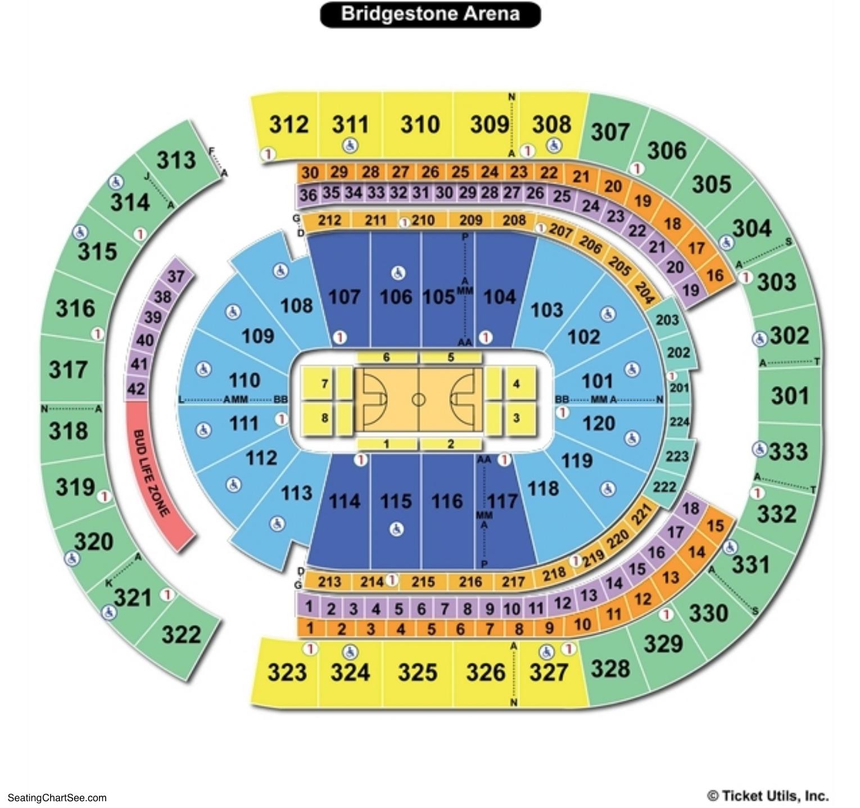Bridgestone Arena Basketball Seating Chart