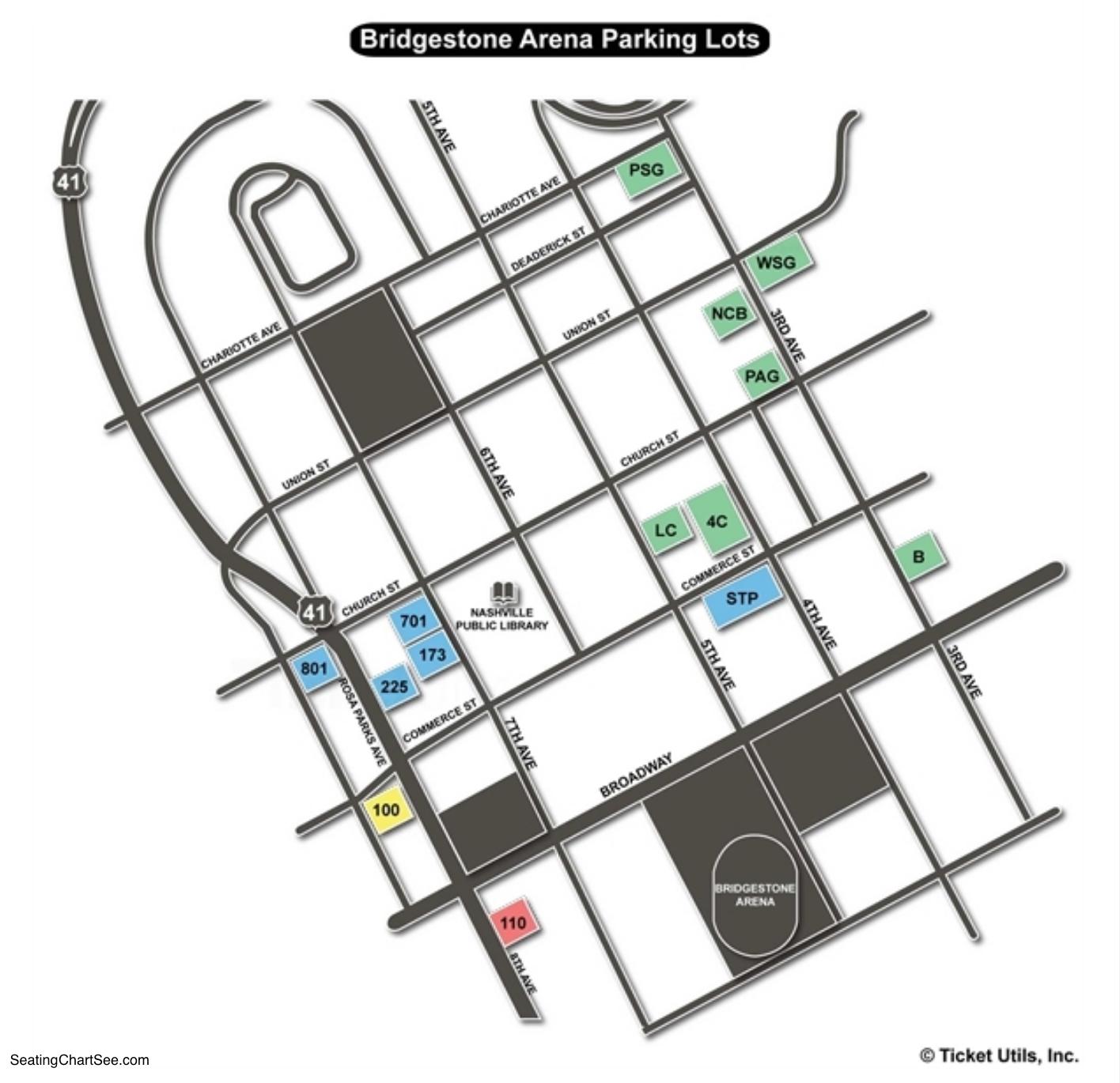 Bridgestone Arena Parking Lots Chart
