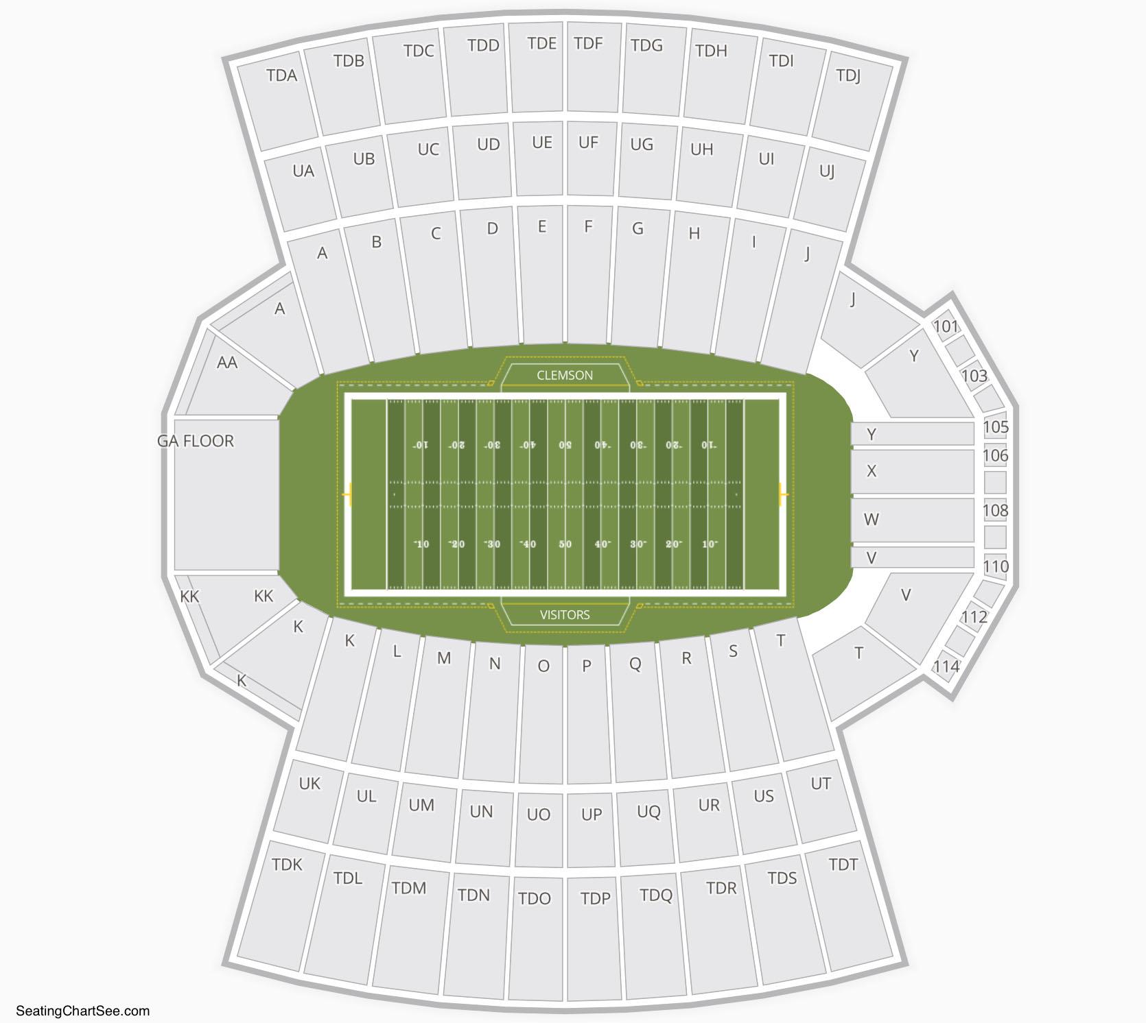 Clemson Tigers Football Seating Chart