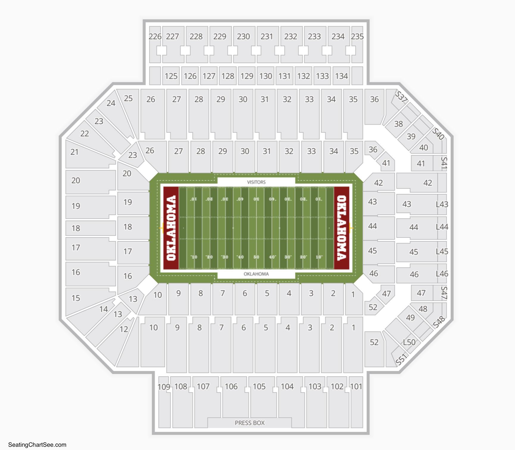 Gaylord Family-Oklahoma Memorial Stadium Seating Chart