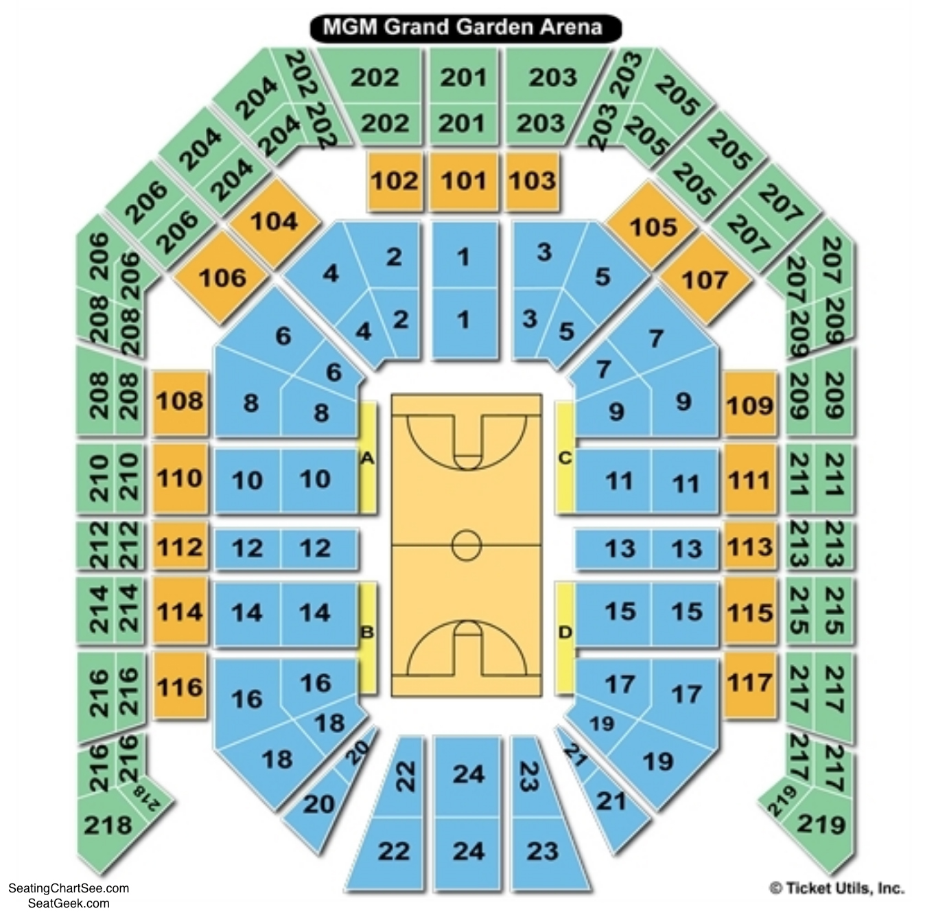 MGM Grand Garden Arena Basketball Seating Chart