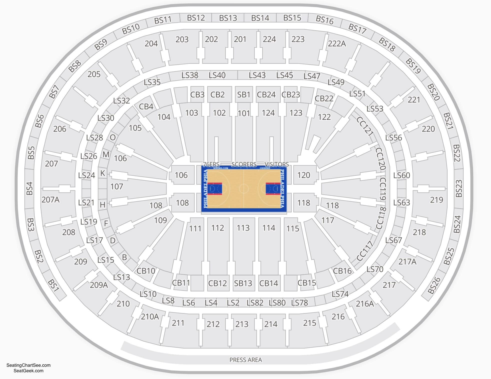 Wells Fargo Center Basketball Seating Chart