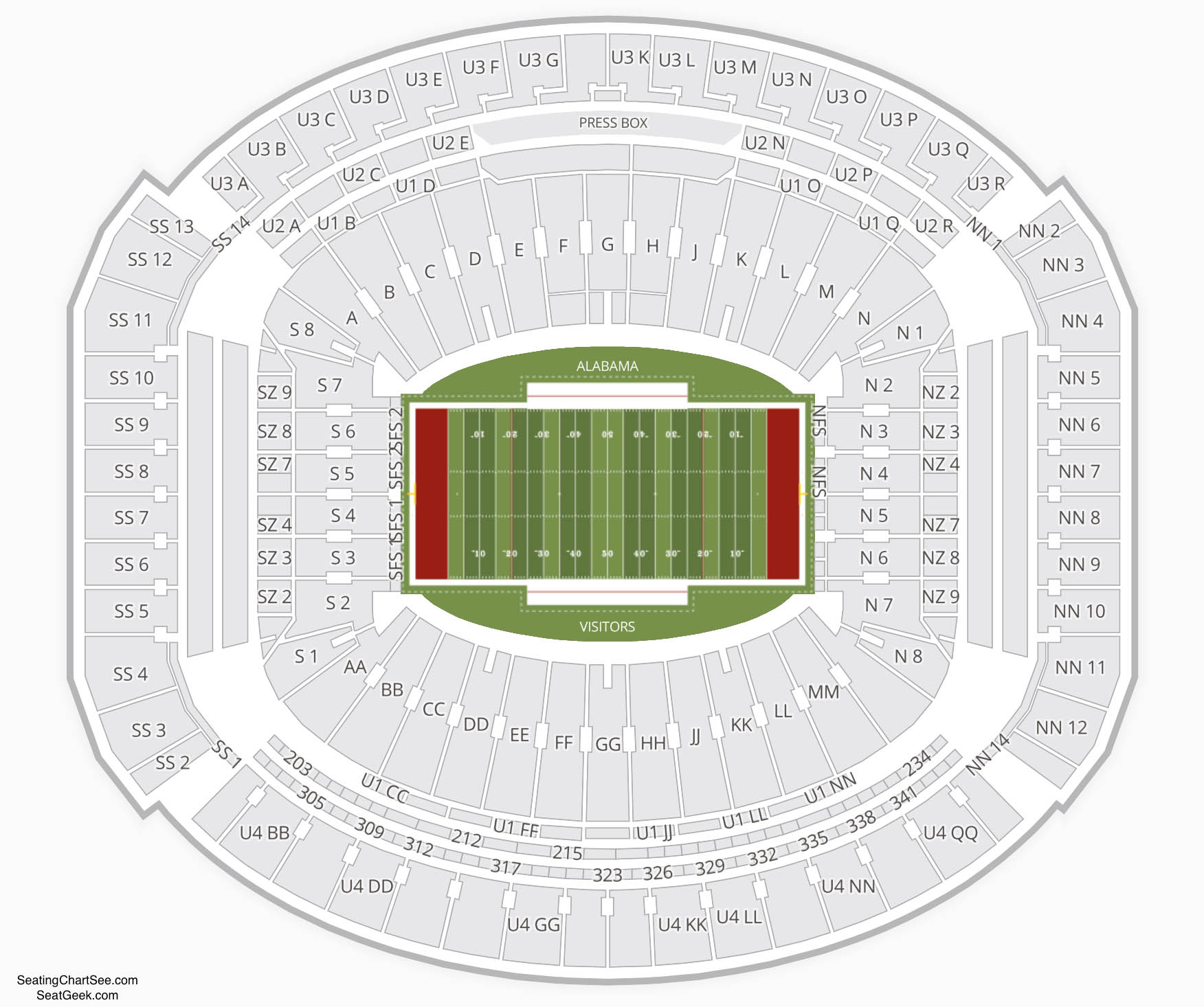 Bryant Denny Stadium Seating Charts