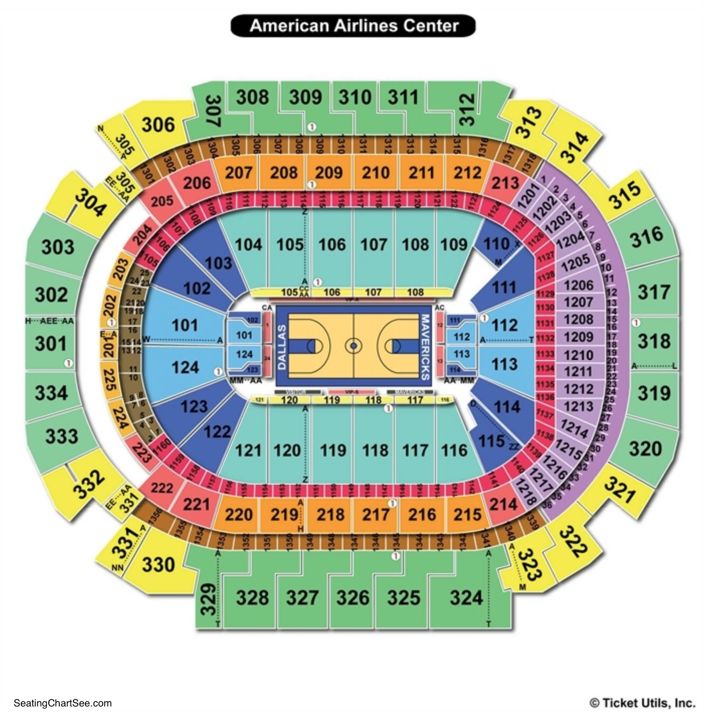 American Airlines Center Seating Chart Basketball
