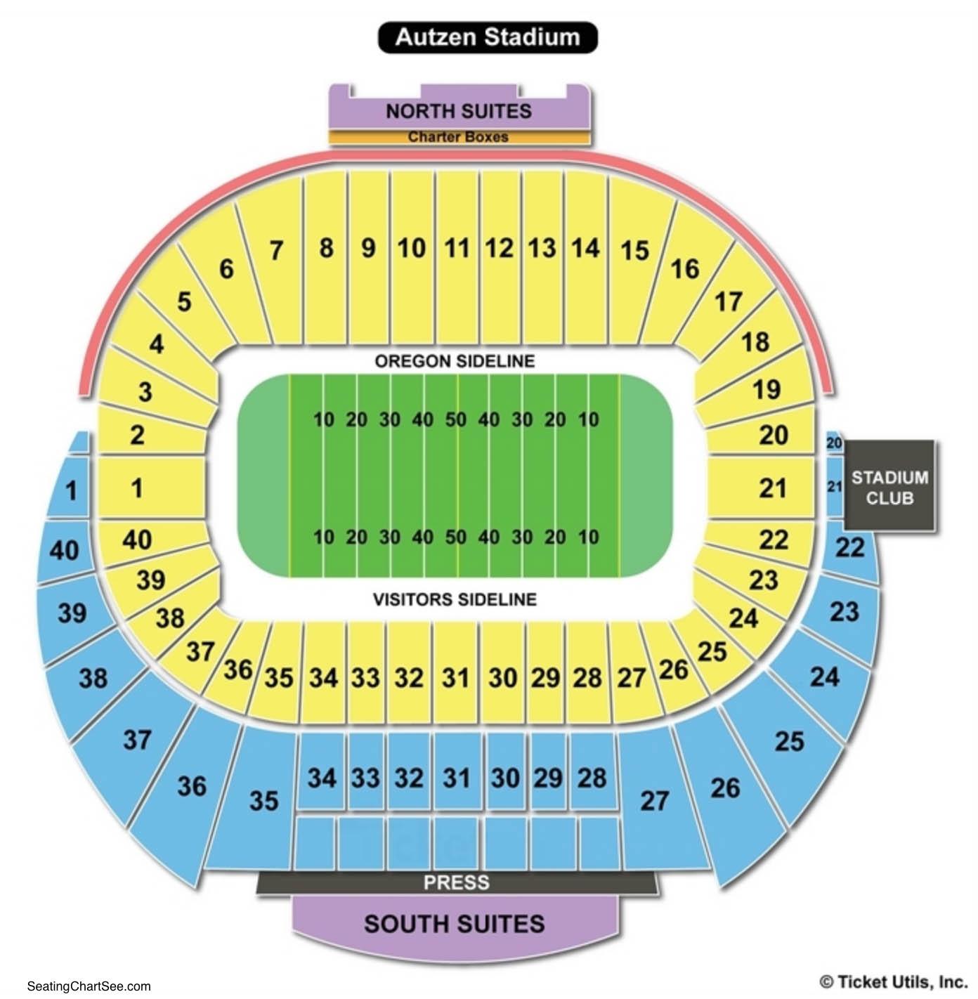 Autzen Stadium Football Seating Chart