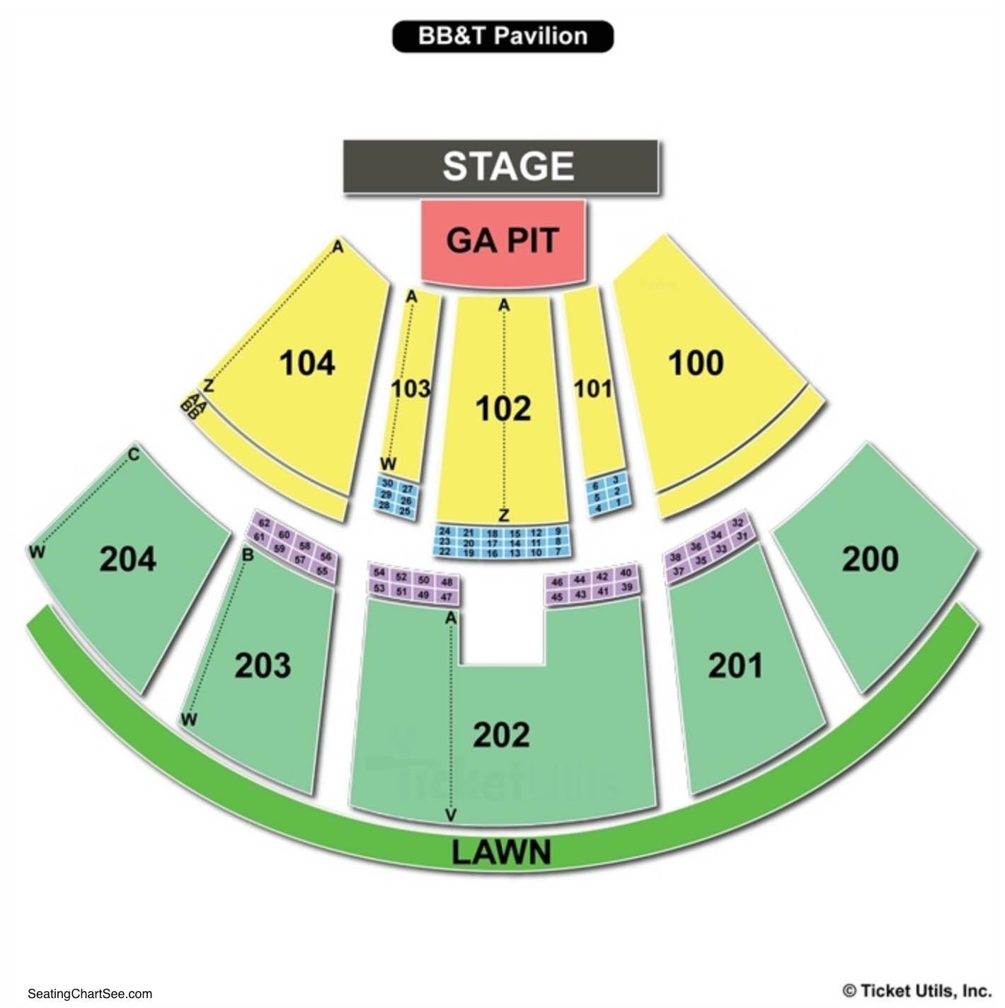 BB&T Pavilion Seating Chart Camden