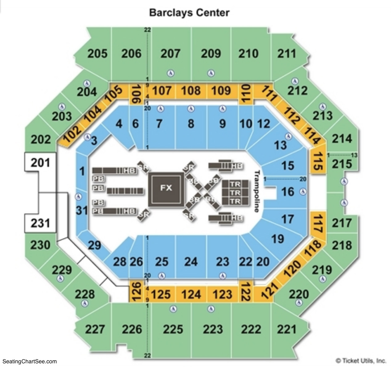Barclays Center Seating Chart Gymnastics