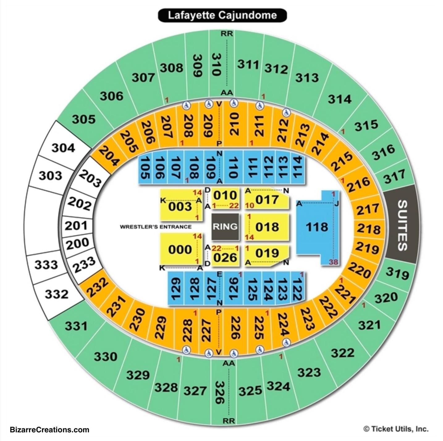 Cajundome Seating Chart WWE
