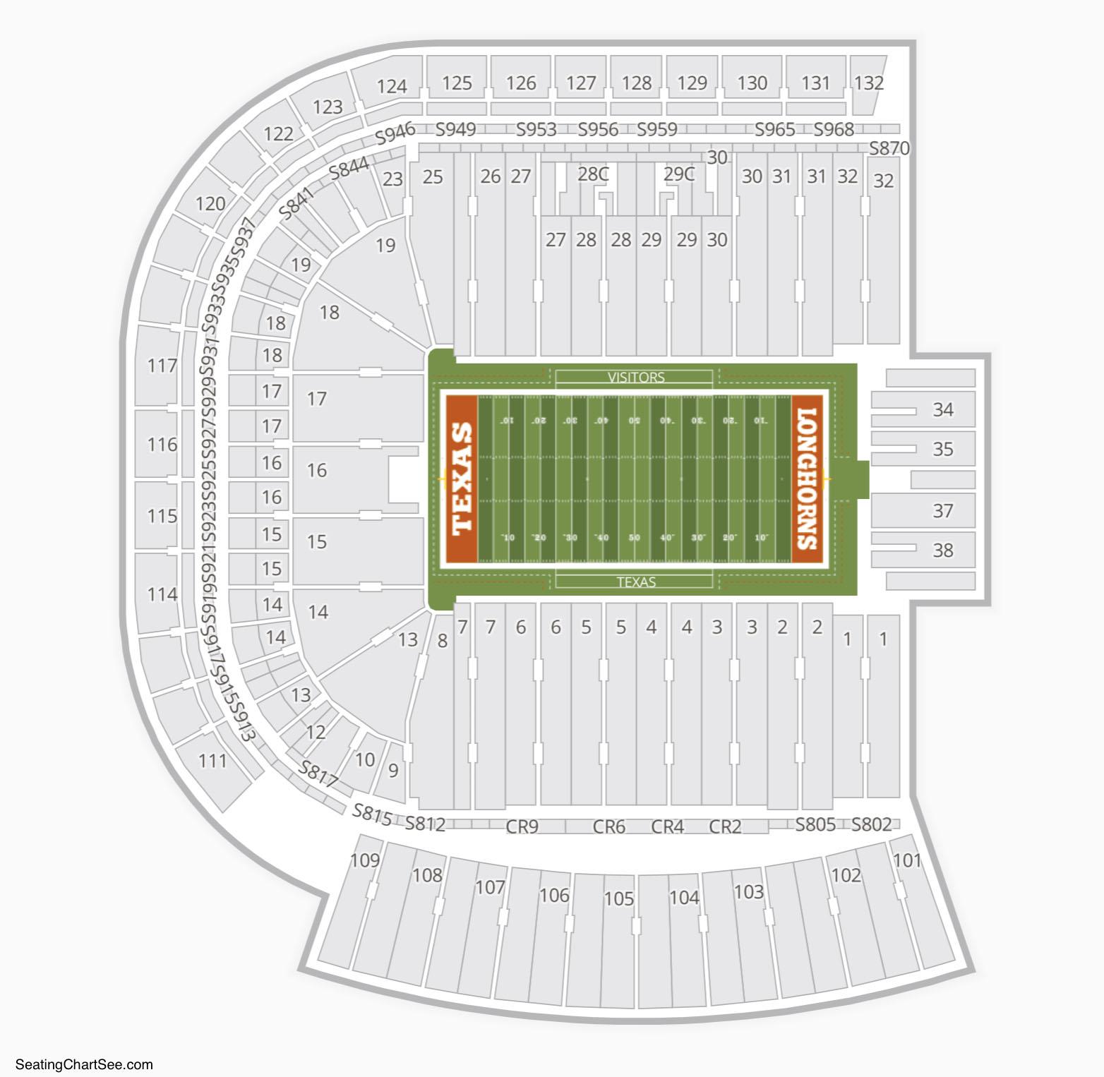 Darrell K Royal Texas Memorial Stadium Seating Chart