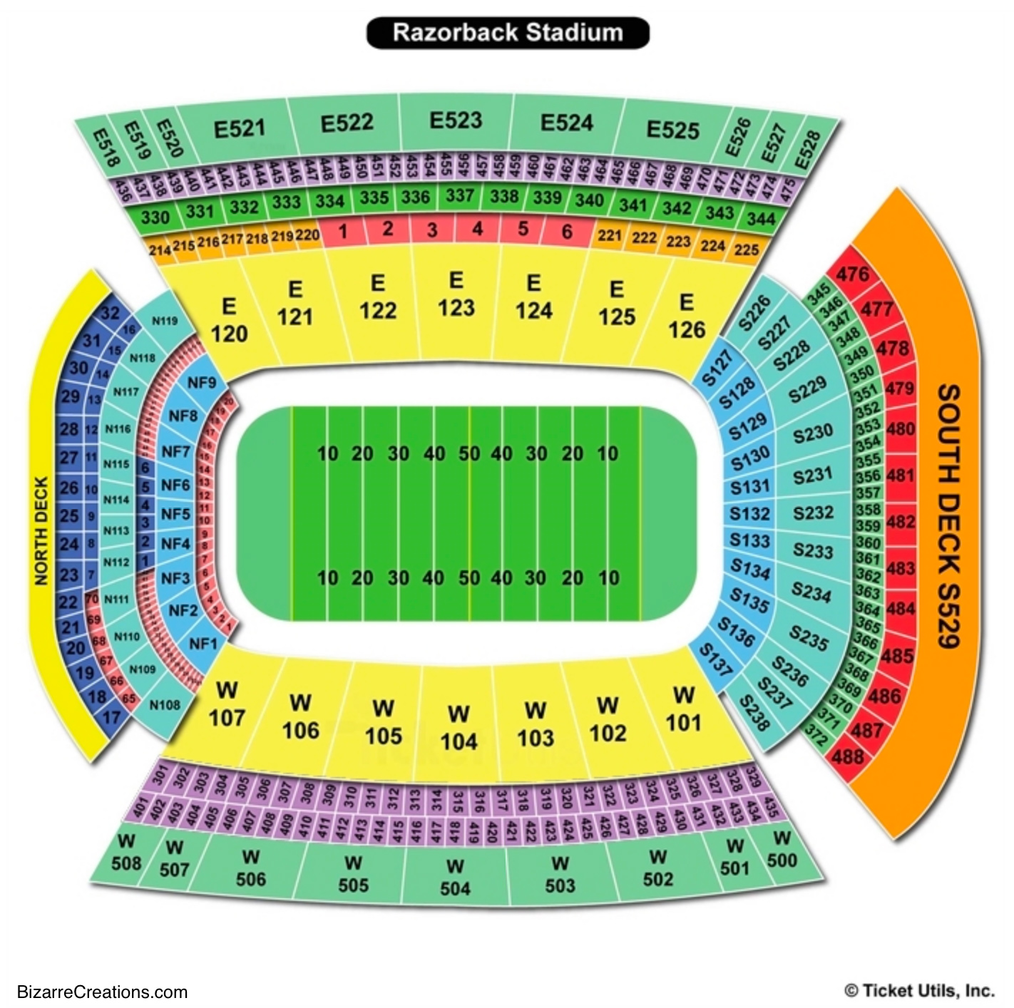Donald W Reynolds Razorback Stadium Seating Charts Views Games Answers Cheats