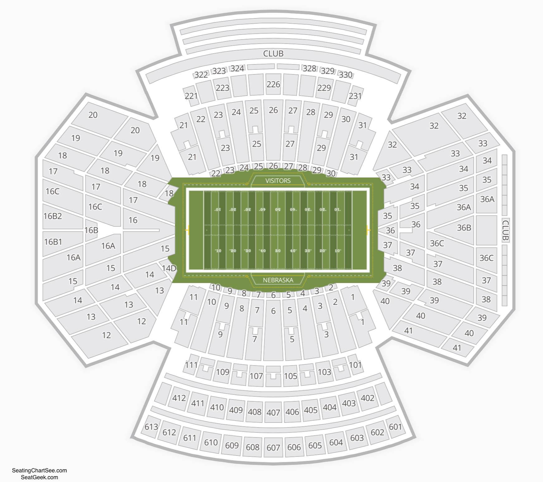 Nebraska Cornhuskers Football Seating Chart