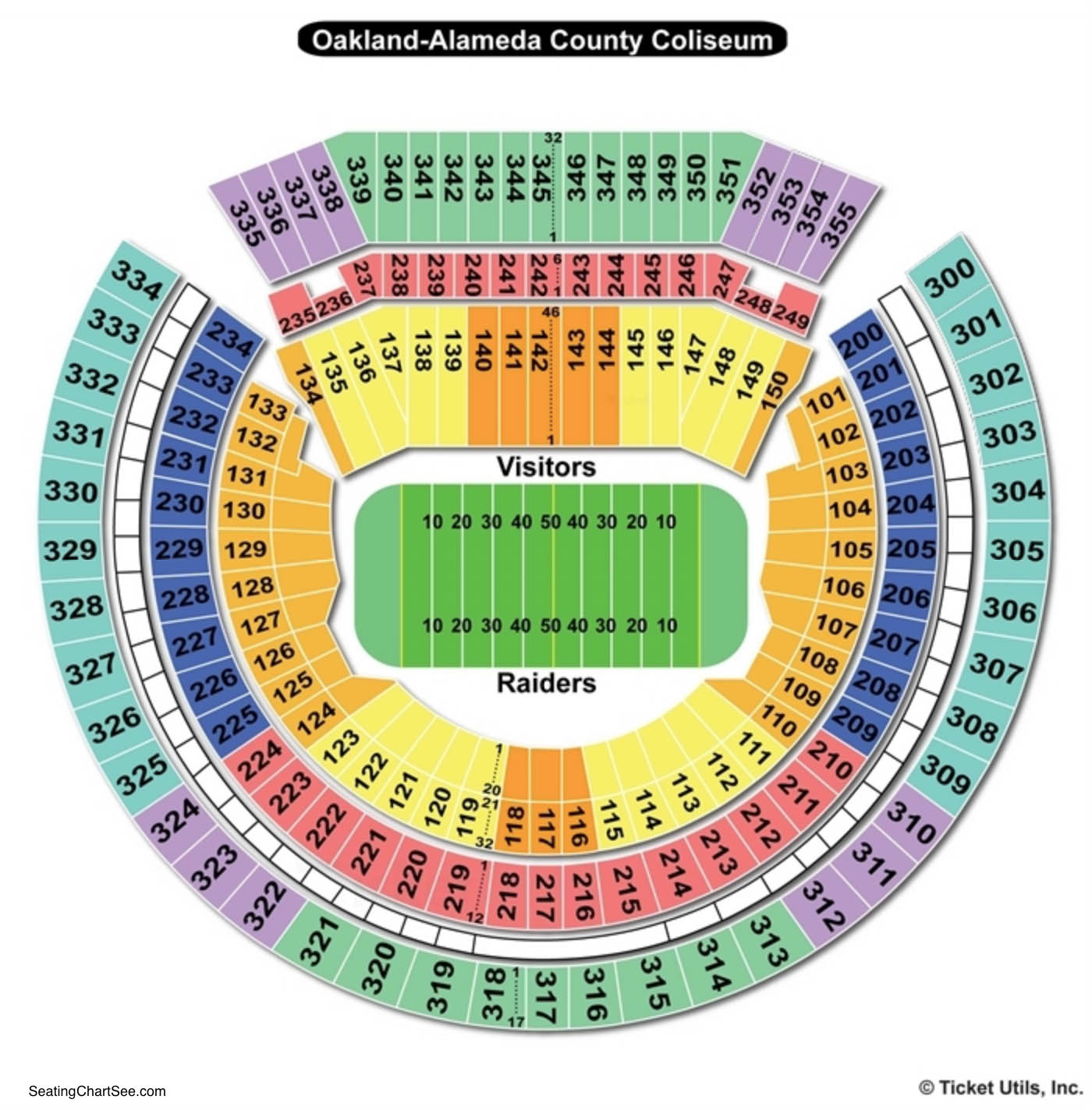 Oakland Alameda County Coliseum Seating Chart Football