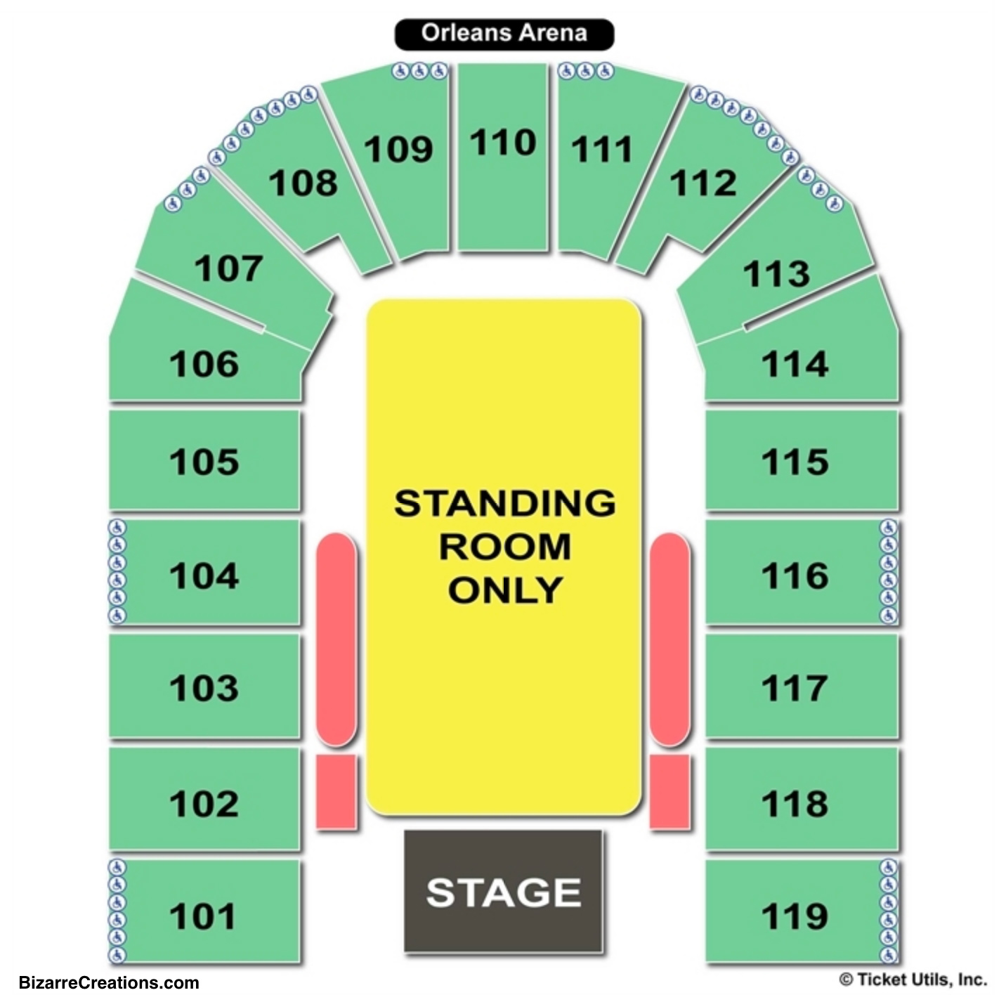 Orleans Arena Concert Seating Chart