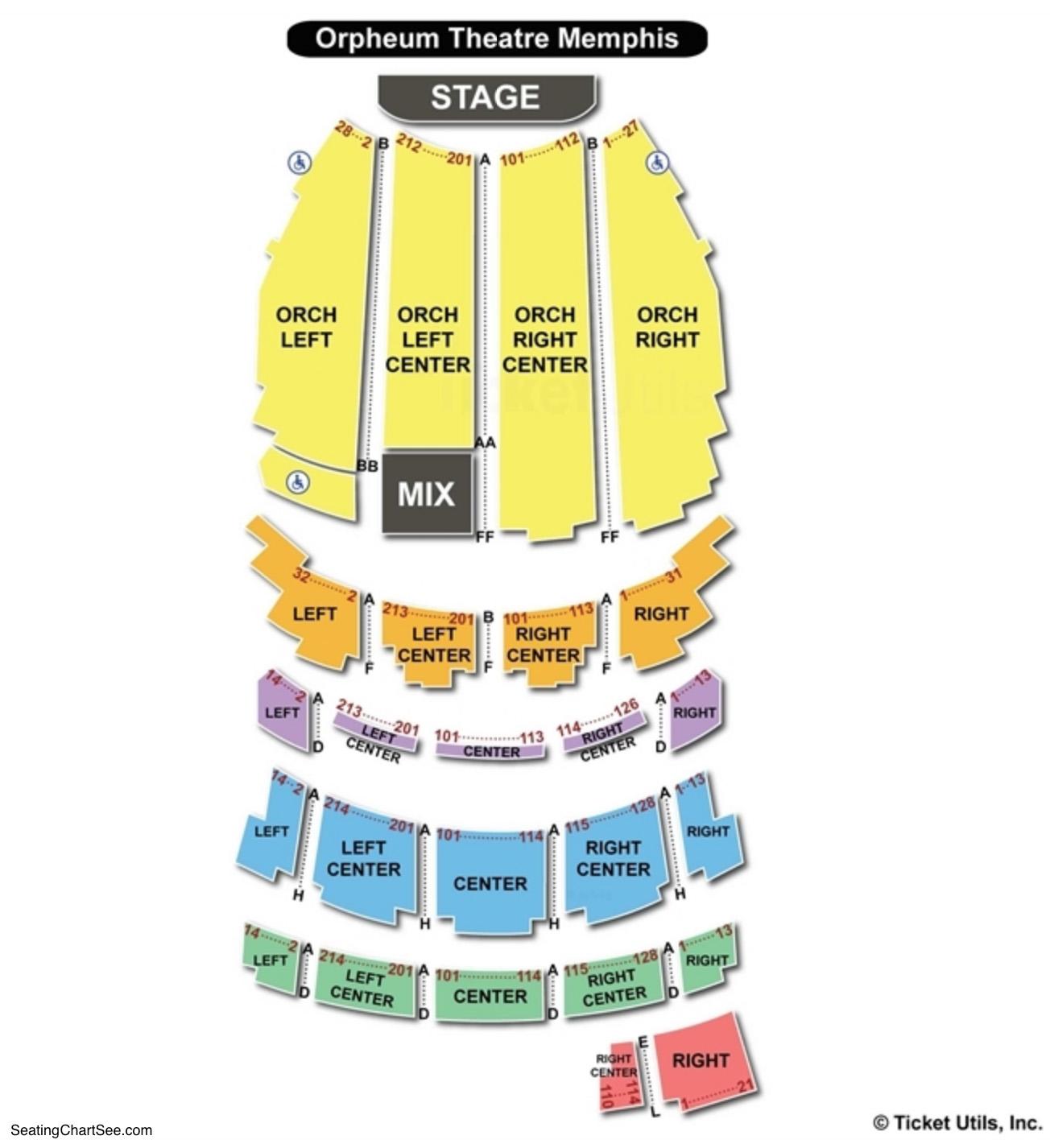 Orpheum Theatre Memphis Seating Chart