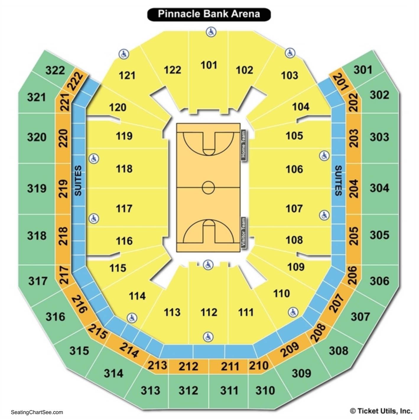 Pinnacle Bank Arena Basketball Seating Chart