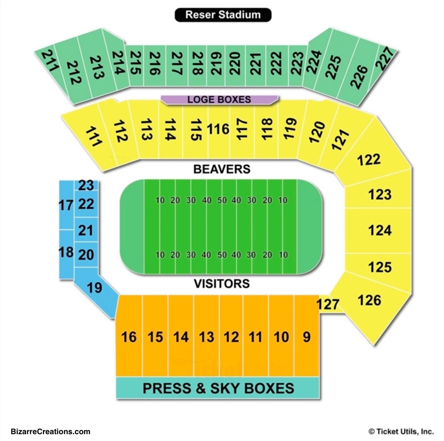 Reser Stadium Seating Chart Football