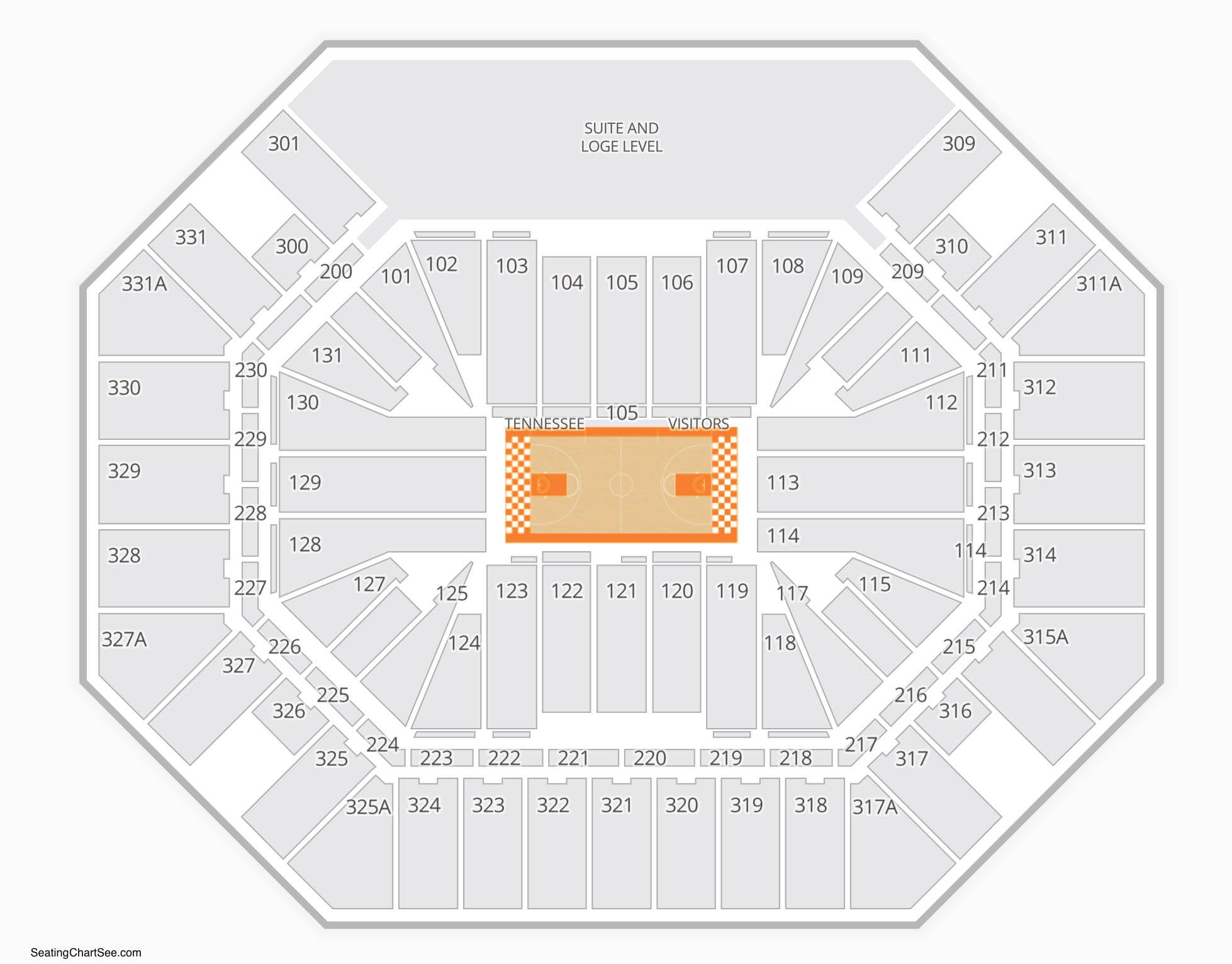 Tennessee Volunteers Basketball Seating Chart