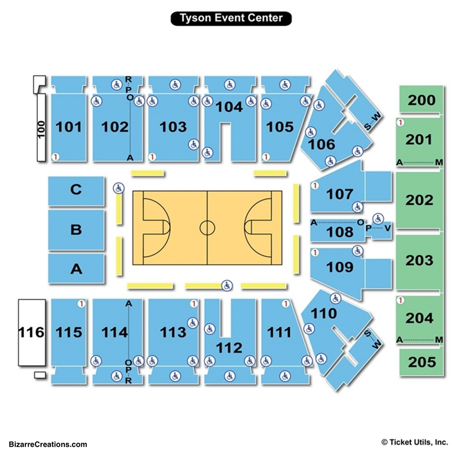 Tyson Events Center Seating Chart Basketball