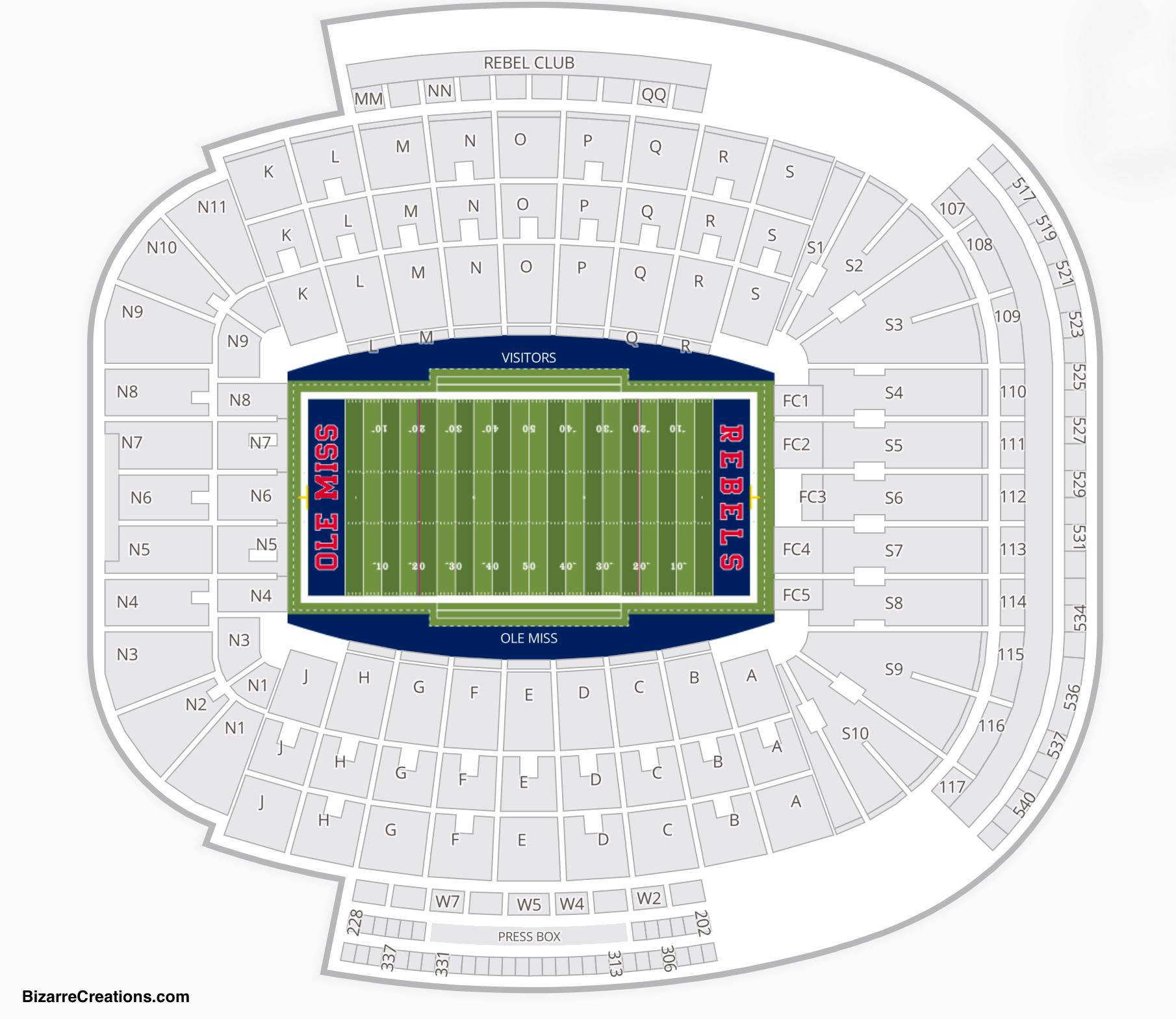 Vaught–Hemingway Stadium at Hollingsworth Field Seating Chart